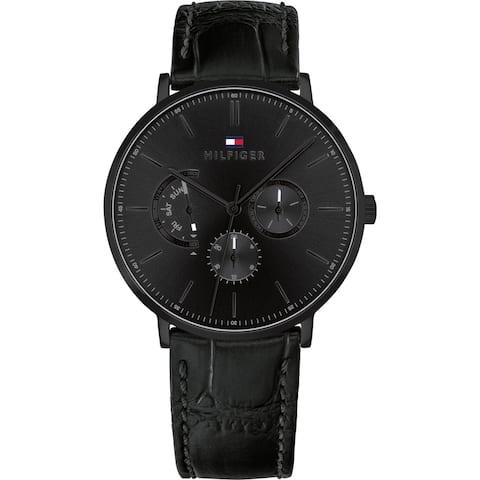 Tommy Hilfiger Black Leather Mens Watch 1710378