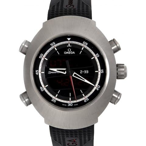 Omega Men's 325.92.43.79.01.001 'Speedmaster Spacemaster' Chronograph Black Rubber Watch
