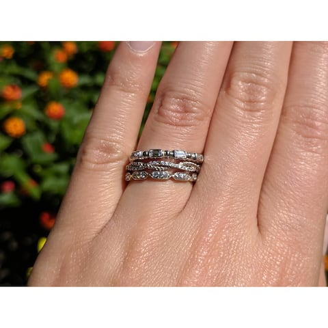 Sterling Silver 1/2 CT Cubic Zirconia 3 Piece Anniversary Stackable Ring Set - Fashion Ring Set