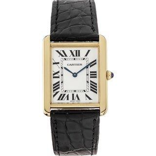 Link to Cartier Unisex W1018855 'Tank' Black Leather Watch Similar Items in Men's Watches