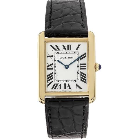 Cartier Unisex W1018855 'Tank' Black Leather Watch