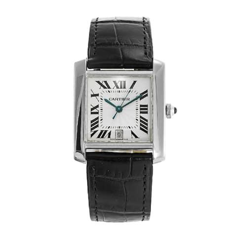 Cartier Men's W5001156 'Tank' Blue Leather Watch