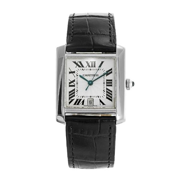Cartier Men's W5001156 'Tank' Blue Leather Watch. Opens flyout.