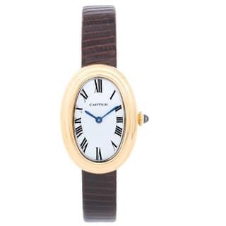 Cartier Women's W8000009 'Baignoire' Gold-Tone Leather Watch