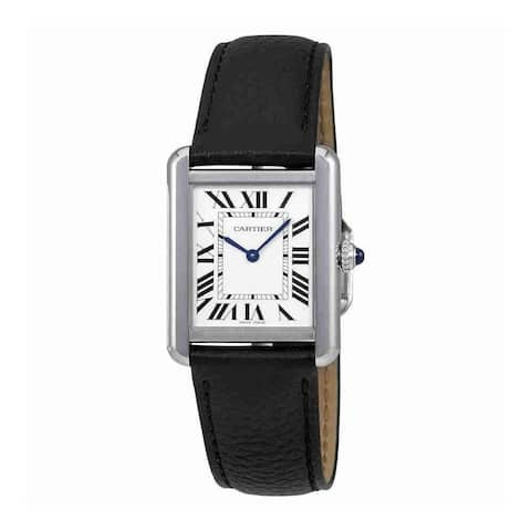 Cartier Women's WSTA0030 'Tank' Black Leather Watch