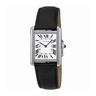 Cartier Women's WSTA0030 'Tank' Black Leather Watch