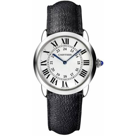 Cartier Women's WSRN0019 'Ronde Solo' Black Leather Watch
