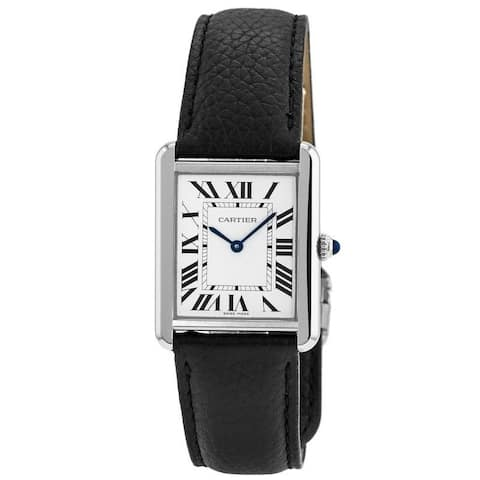 Cartier Women's WSTA0028 'Tank' Black Leather Watch