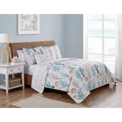 VCNY Home Coral Reef Reversible Taupe Quilt Set