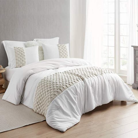 Knit and Loop Textured Oversized Comforter - Almond Cream (Shams not included)
