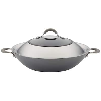 """Circulon Elementum Nonstick Covered Wok with Handles, 14"""", Oyster Grey"""