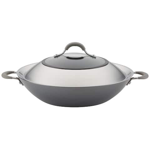 "Circulon Elementum Nonstick Covered Wok with Handles, 14"", Oyster Grey"