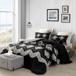 Hometown Antiquity Textured Oversized Comforter - Black/Glacier Gray (Shams not included)
