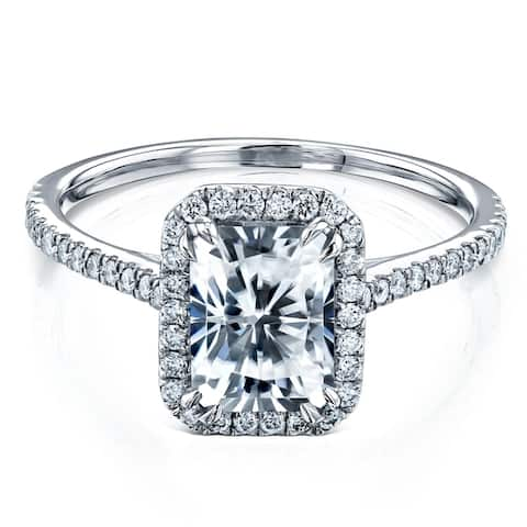 Annello by Kobelli 14k Gold 1.8ct Radiant Forever One Colorless Moissanite and Lab Grown Diamond Halo Engagement Ring (DF/VS)