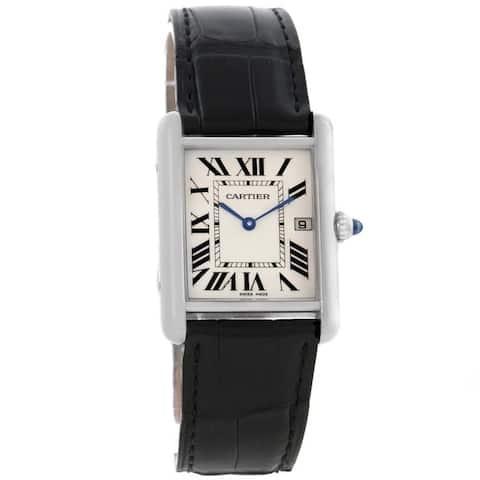 Cartier Men's W1540956 'Tank' Black Leather Watch