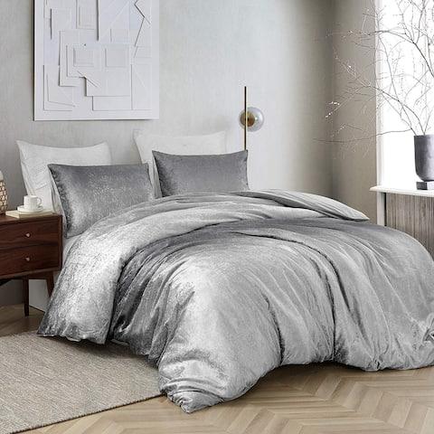 Coma Inducer Oversized Duvet Cover - Ombre Velvet Crush - Light Gray/Dark Gray
