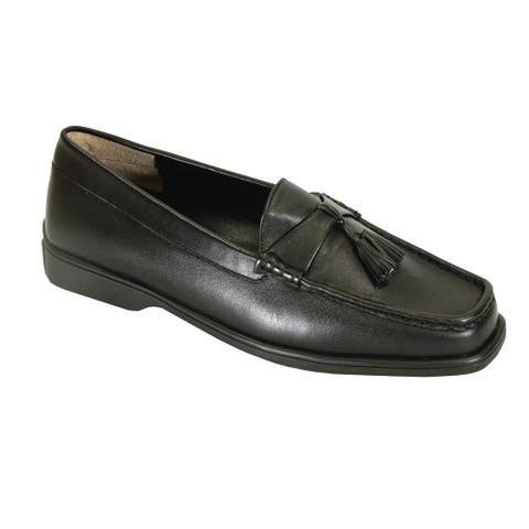 PEERAGE Sonya Extra Wide Width Moccasin Design Comfort Leather Loafers