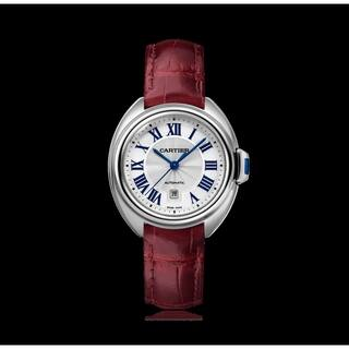 Cartier Women's WSCL0016 'Cle De Cartier' Burgundy Leather Watch