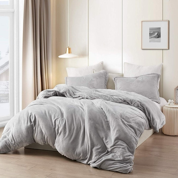 Coma Inducer Oversized Duvet Cover   Wait Oh What   Tundra Gray   King   Tundra Gray by Byourbed