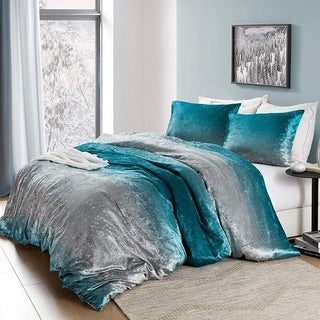 Link to Coma Inducer Oversized Duvet Cover - Ombre Velvet Crush - Ocean Depths Teal/Silver Gray Similar Items in Duvet Covers & Sets