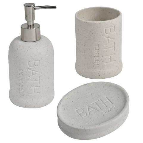 Bath Stoneware Bath Accessory Set 3-Pieces Beige