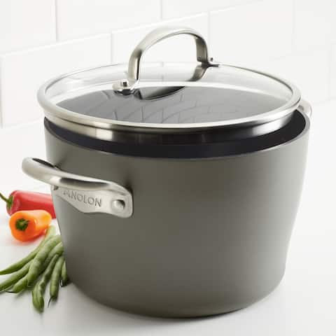Anolon Allure Hard-Anodized Nonstick Dutch Oven with Lid, 5qt, Drk Gry