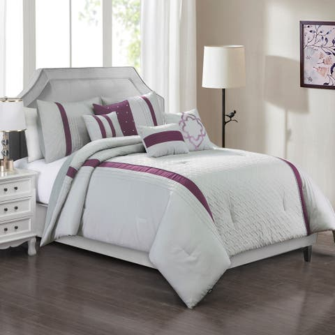 Elight Home Polyester Microfiber 7pc Comforter Set - Grey