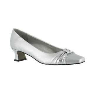 Easy Street Women's Waive Pump with Pleated Overlay Wide in Size 11 (Silver) (As Is Item)