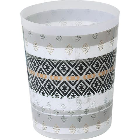 "Kenya Collection Printed Trash Can 4.5-liters-1.2-Gal - White, Black, Grey, Gold - 7.68""L x 7.68""W x 9.45 inchesH"