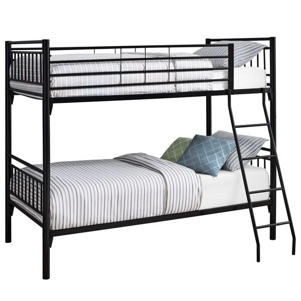 Bunk Bed - Twin / Twin Size / Detachable Black Metal