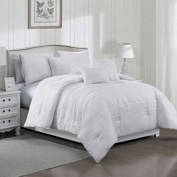 Porch & Den Sickle White Pintuck Pleat 6-piece Comforter Set. Opens flyout.