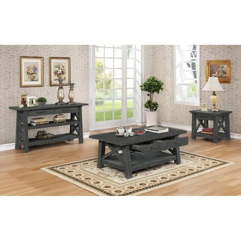 Best Quality Furniture 3-Piece Rustic Grey Coffee Table, End Table, and Console Table Set