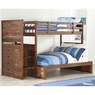 Carbon Loft Twitchen Kids Twin over Full Artesian Stairway Bunkbed in Brown Glaze