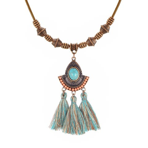 Large Turquoise Drop Teal Tassel Pendant & Long Leather Necklace