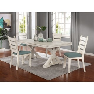Link to Florina Antique White Wood Trestle 5-Piece Dining Set: Dining Table with 4 Chairs Similar Items in Dining Room & Bar Furniture