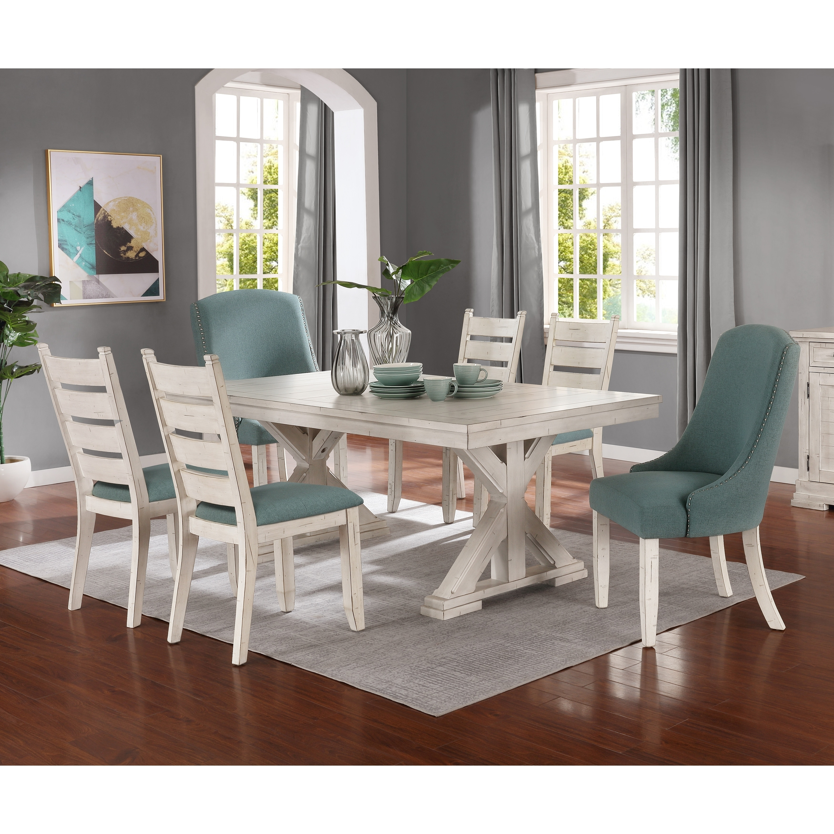 Remarkable Florina Antique White Wood Trestle 7 Piece Dining Set Dining Table With 6 Chairs Beatyapartments Chair Design Images Beatyapartmentscom