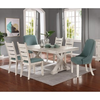 Florina Antique White Wood Trestle 7-Piece Dining Set: Dining Table with 6 Chairs