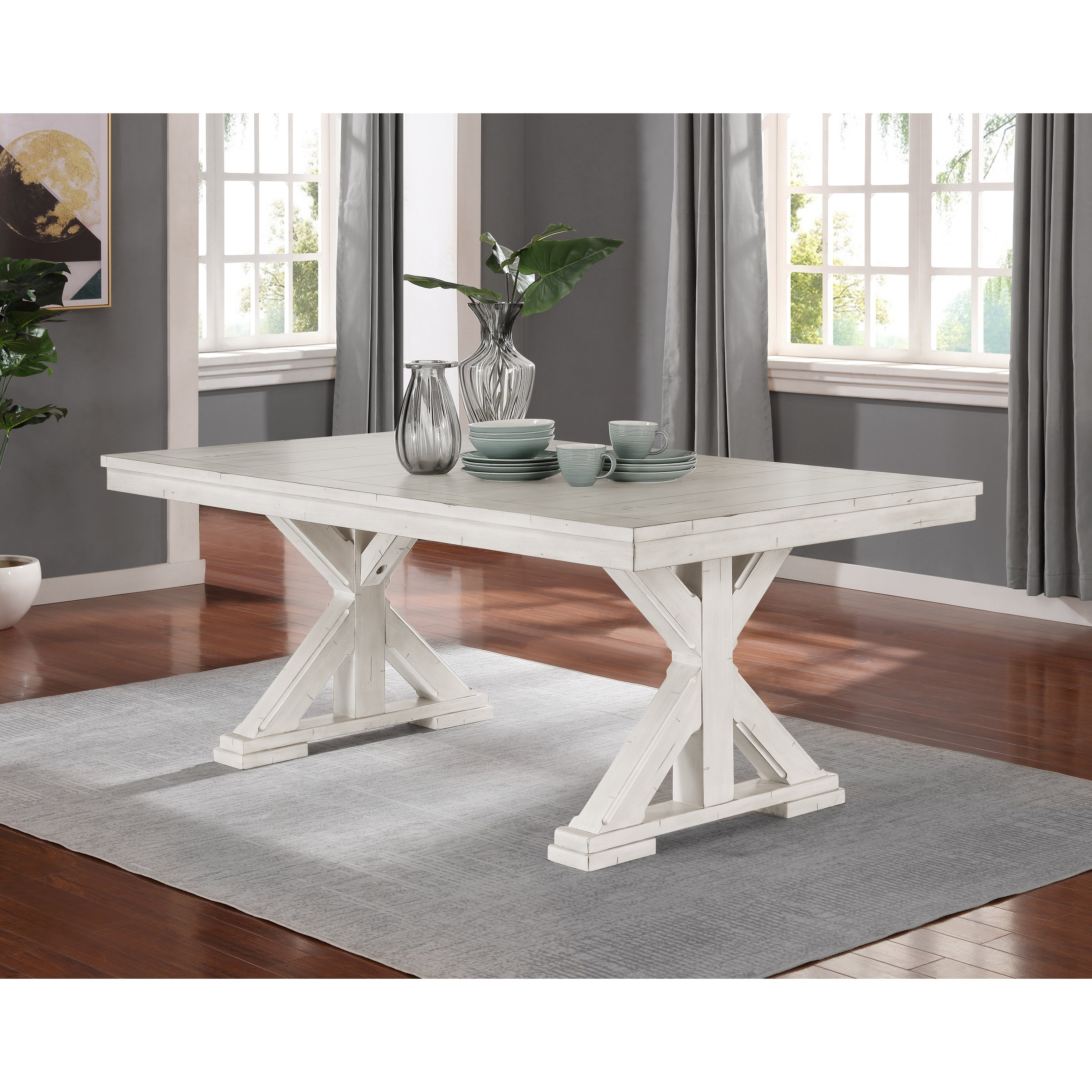 Shop Florina Antique White Wood Trestle Dining Table Overstock 29004577