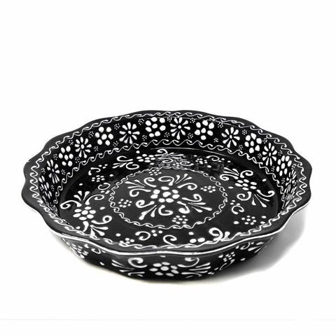 The Curated Nomad Somerset Ink-black Handmade Pottery Serving Bowl