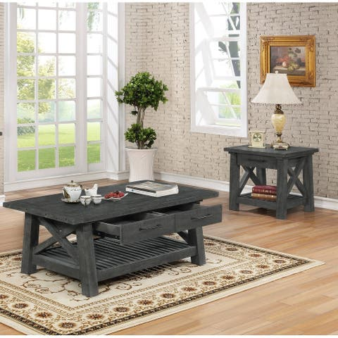 Best Quality Furniture 3-Piece Rustic Grey Coffee Table and 2 End Table Set