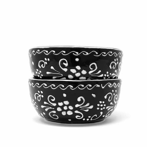 The Curated Nomad Somerset Ink-black Pottery 5.5-inch Bowls (Set of 2)