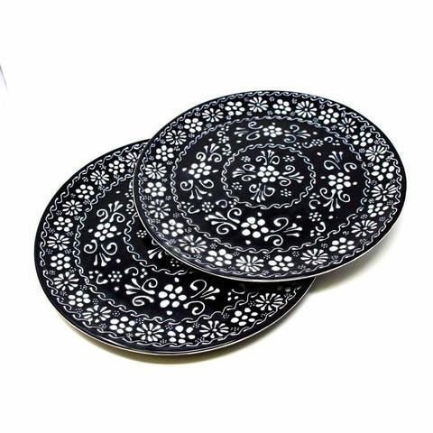 Handmade Encantada Pottery Dinner Plates Set of 2, Ink