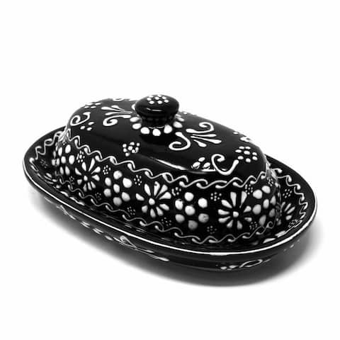 The Curated Nomad Somerset Ink-black Handmade Pottery Butter Dish
