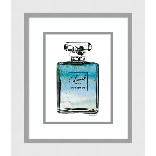 Framed Art Print 'Perfume in Blue Ombre Glitter Chanel' - 18x21-inch
