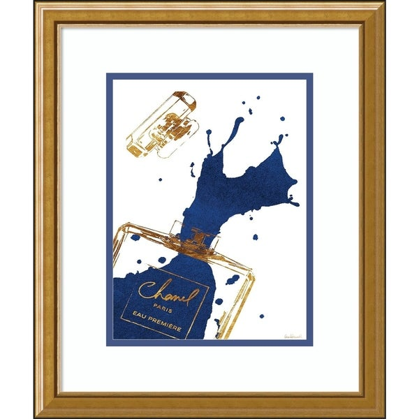 Framed Art Print 'Navy Splash Chanel' by Amanda Greenwood - 16x19-inch
