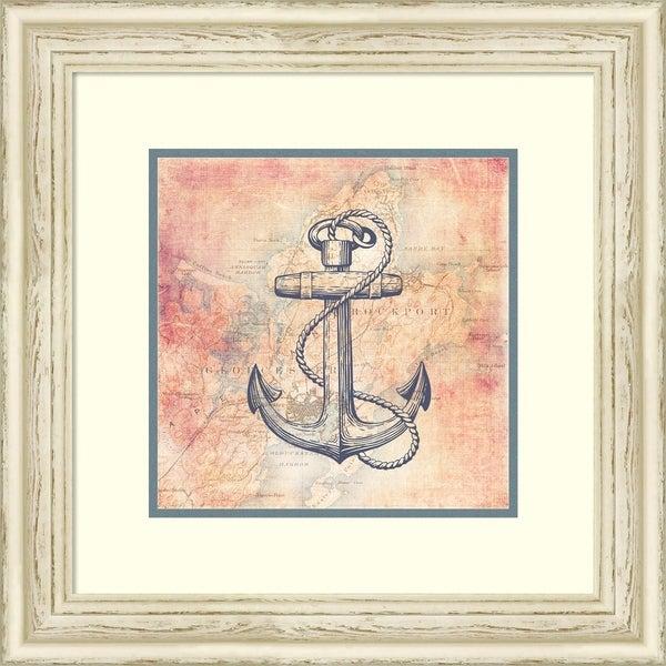 Framed Art Print 'Map & Anchor' by Brandi Fitzgerald - 22x22-inch