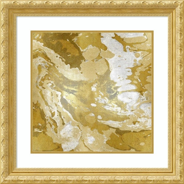 Framed Art Print 'Marbleized in Gold and Silver' - 26x26-inch