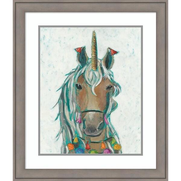 Framed Art Print 'Fiesta Unicorn II' by Chariklia Zarris - 24x28-inch