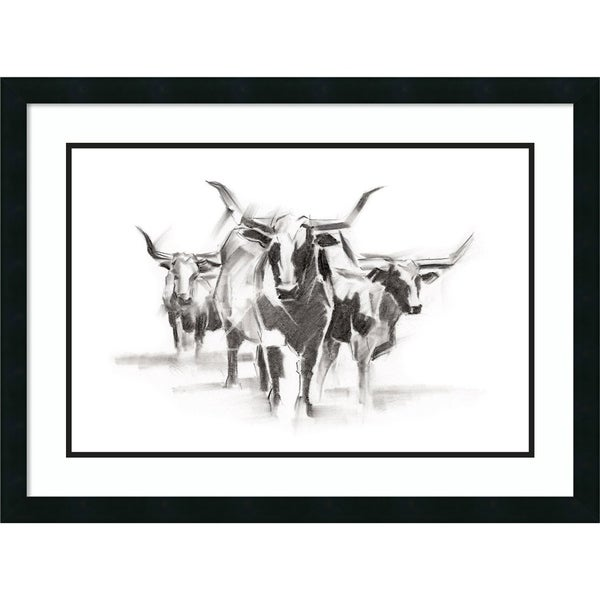 Framed Art Print 'Contemporary Cattle I' by Ethan Harper - 31x23-inch