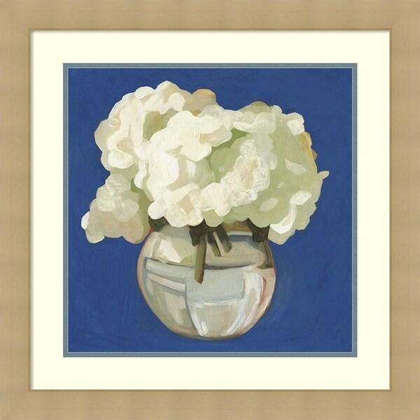 Framed Art Print 'White Hydrangeas I' by Emma Scarvey - 26x26-inch